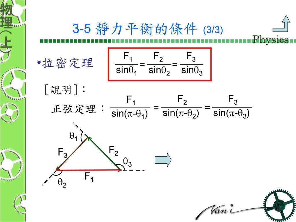 3-5 靜力平衡的條件 (3/3) 拉密定理 [說明]: 正弦定理: F1 F2 F3 = = sinq1 sinq2 sinq3 F1